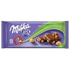 Молочный шоколад Milka Whole Nuts с цельным фундуком 100 г.