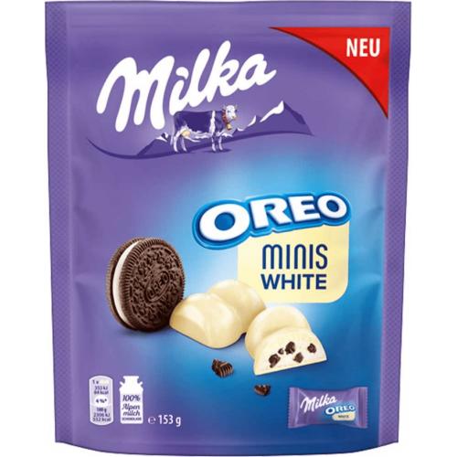 Шоколад Милка Минис Вайт с кусочками печенья Орео 153 гр