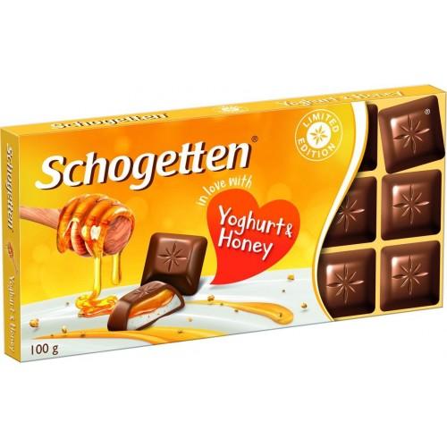 Молочный шоколад Schogetten с начинкой из обезжиренного йогурта и гранулами меда 100 гр
