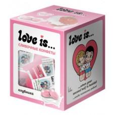 LOVE IS сливочные жевательные конфеты со вкусом клубники